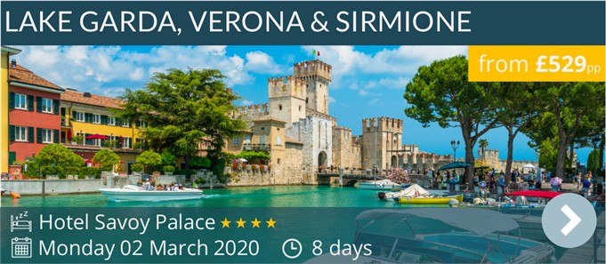 Lake Garda, Sirmione & Verona Escorted Coach Holiday from only £529pp