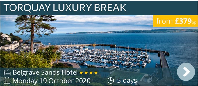 Torquay Luxury 5 day coach holiday - Belgrave Sands Hotel