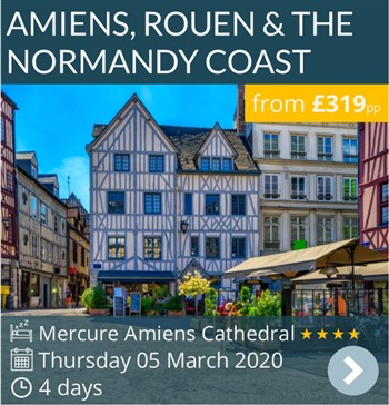 Amiens, Rouen & The Normandy Coast mini break by coach