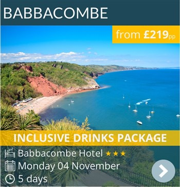 Babbacombe escorted coach holiday with inclusive drinks