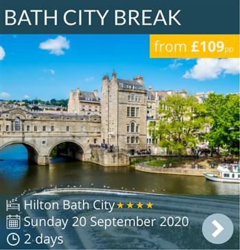 Bath City Break by luxury coach - 4* Hilton Bath City - from £109pp