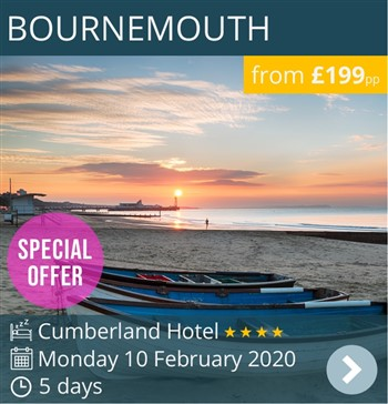 Bournemouth 4* Cumberland Hotel escorted holiday by coach