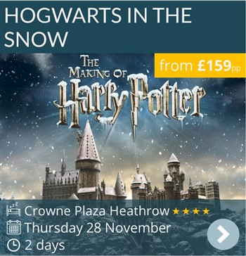 Hogwarts in the Snow at The Warner Bros Studio London weekend break by coach