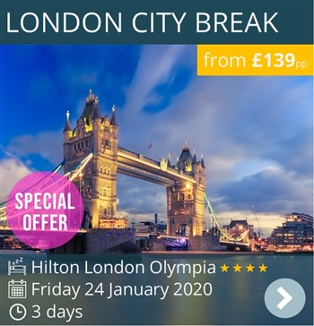 London Weekend Break Special Offer - 4* Hilton London Olympia - £139pp