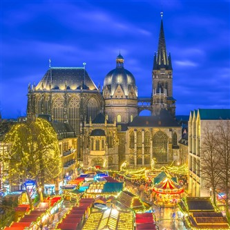 Aerial view of Aachen Christmas Market's twinkling lights at night
