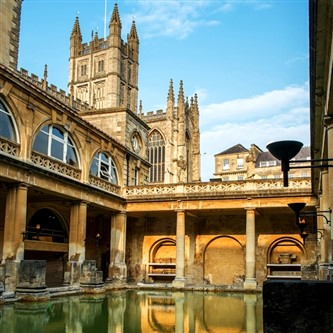 The historic Roman Baths in the English city of Bath