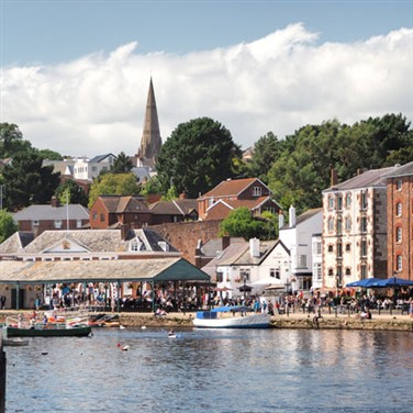 The bustling Quayside in Exeter on a sunny Summer's day