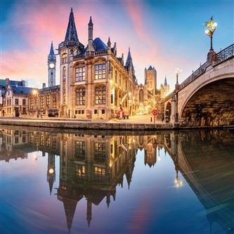 Beautiful sunset in Ghent, Belgium
