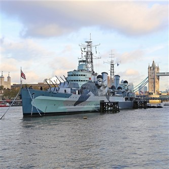 HMS Belfast with London Bridhe and the tower of London in the background