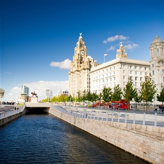 The Liver Building in Liverpool on a sunny day