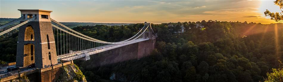 Bristol's Clifton suspension bridge during sunset