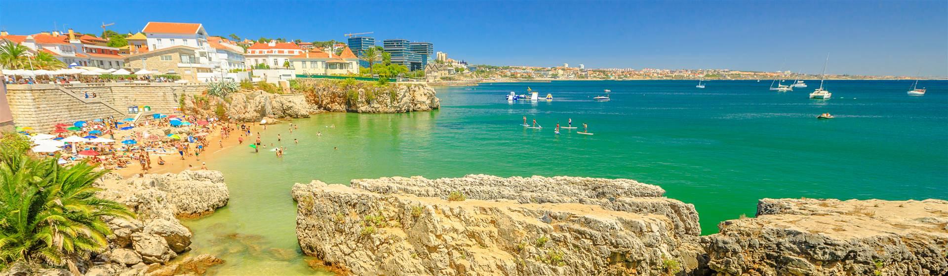A small beach at Praia da Rainha in Cascais, Portugal.