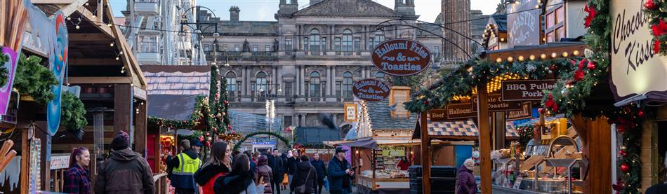 The German style Christmas Market in Glasgow