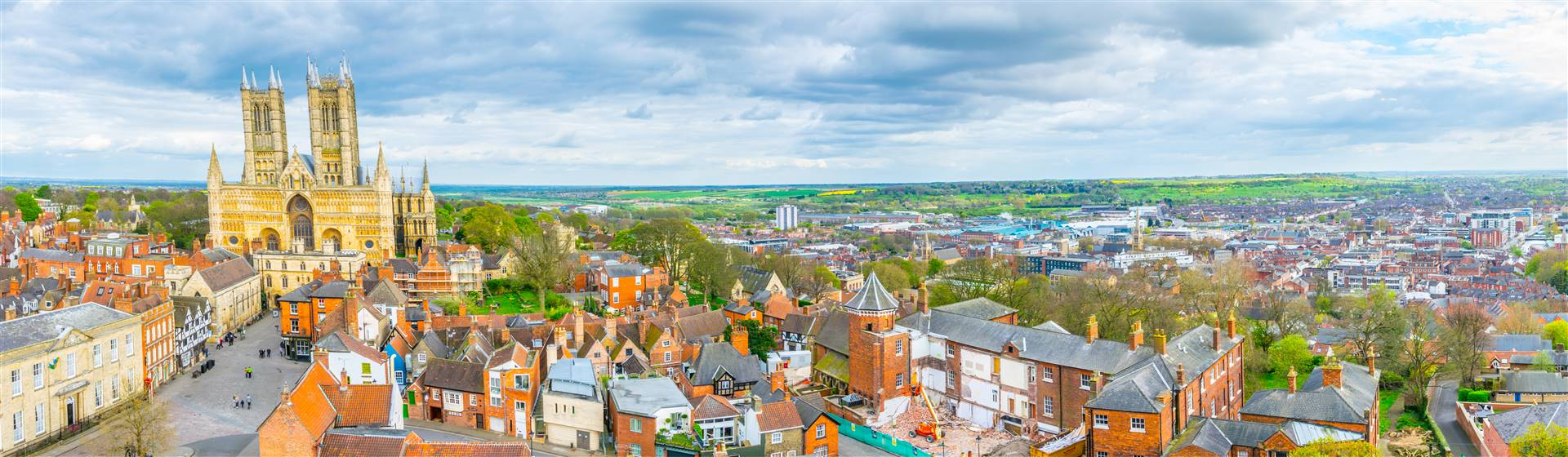 Aerial photo of the the attractive city of Lincoln on a sunny day