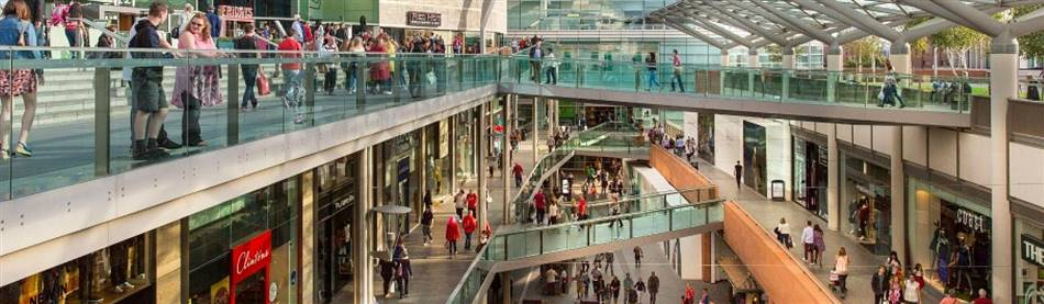 The busy Liverpool One Shopping Complex in Liverpool