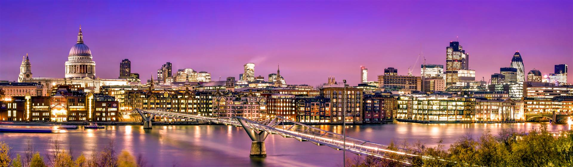 London Panorama of St. Paul's Cathedral, Millennium Bridge and the Financial District