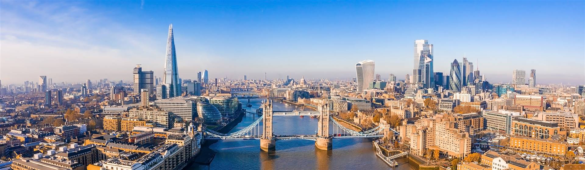 Panorama of Tower Bridge and The Shard in London