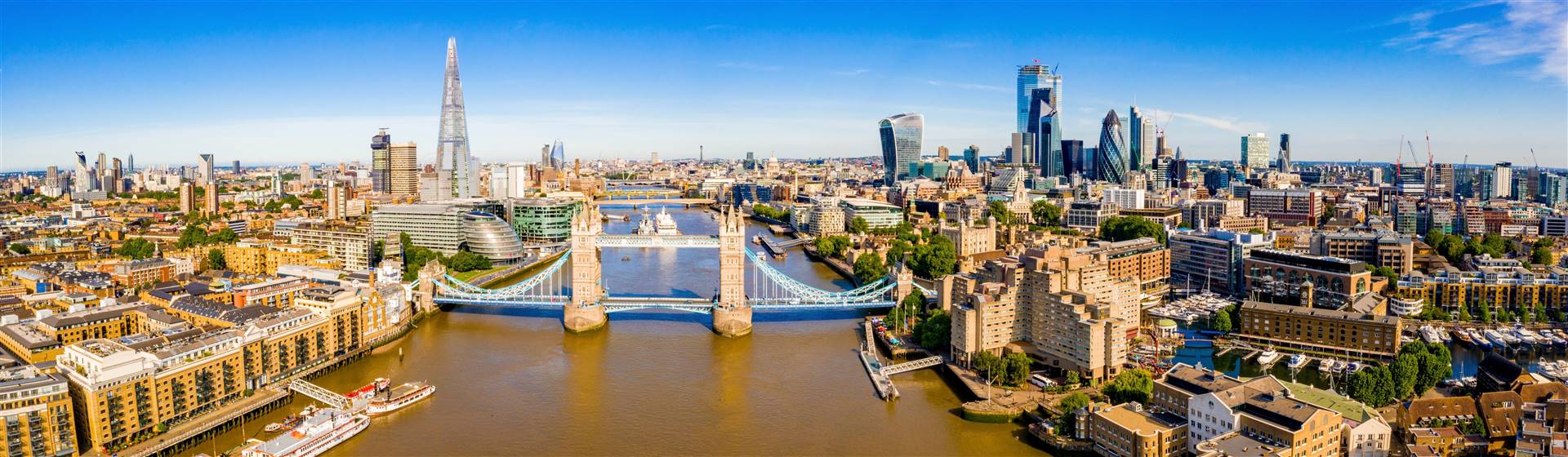 Aerial panorama of Tower Bridge and The Shard, London