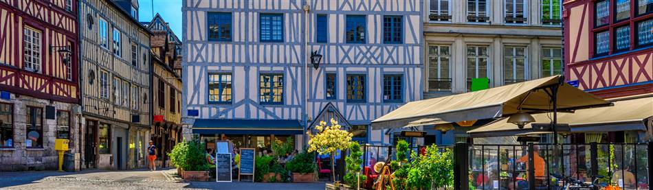 Attractive half-timbered buildings in Rouen, Normandy